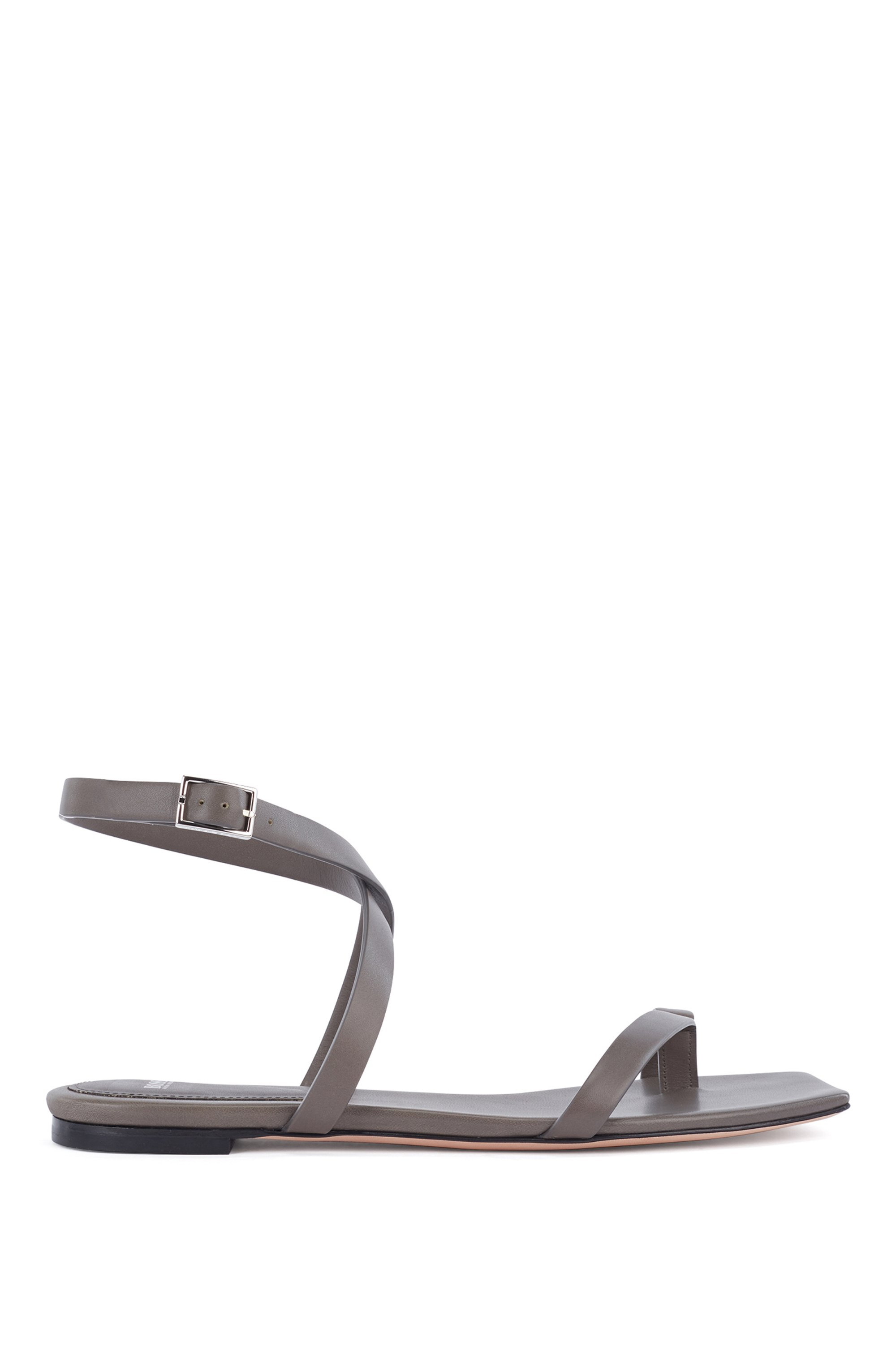 Flat strappy sandals in Italian leather with squared toe, Dark Green