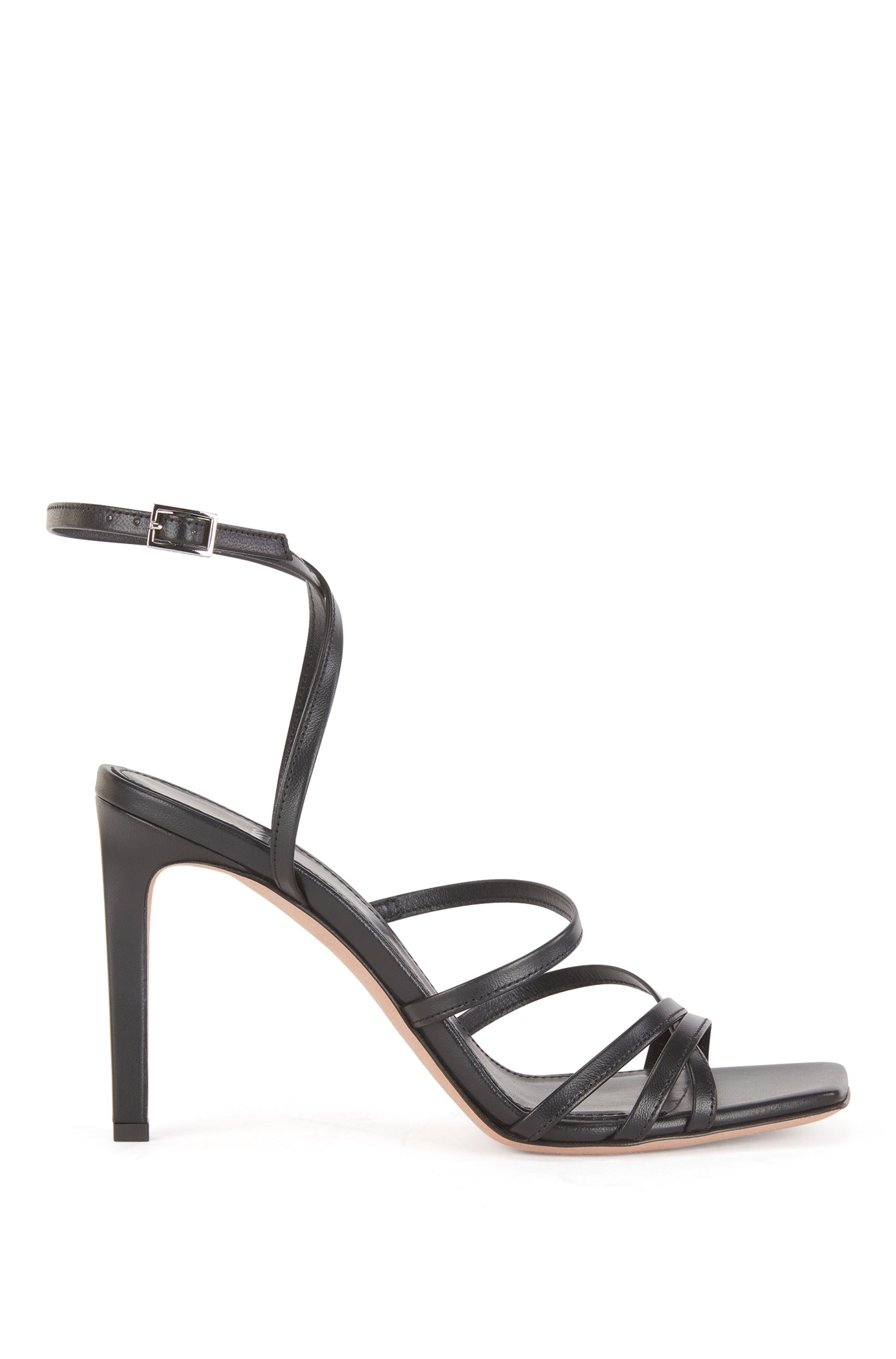 Heeled strappy sandals in Italian leather with squared toe, Black