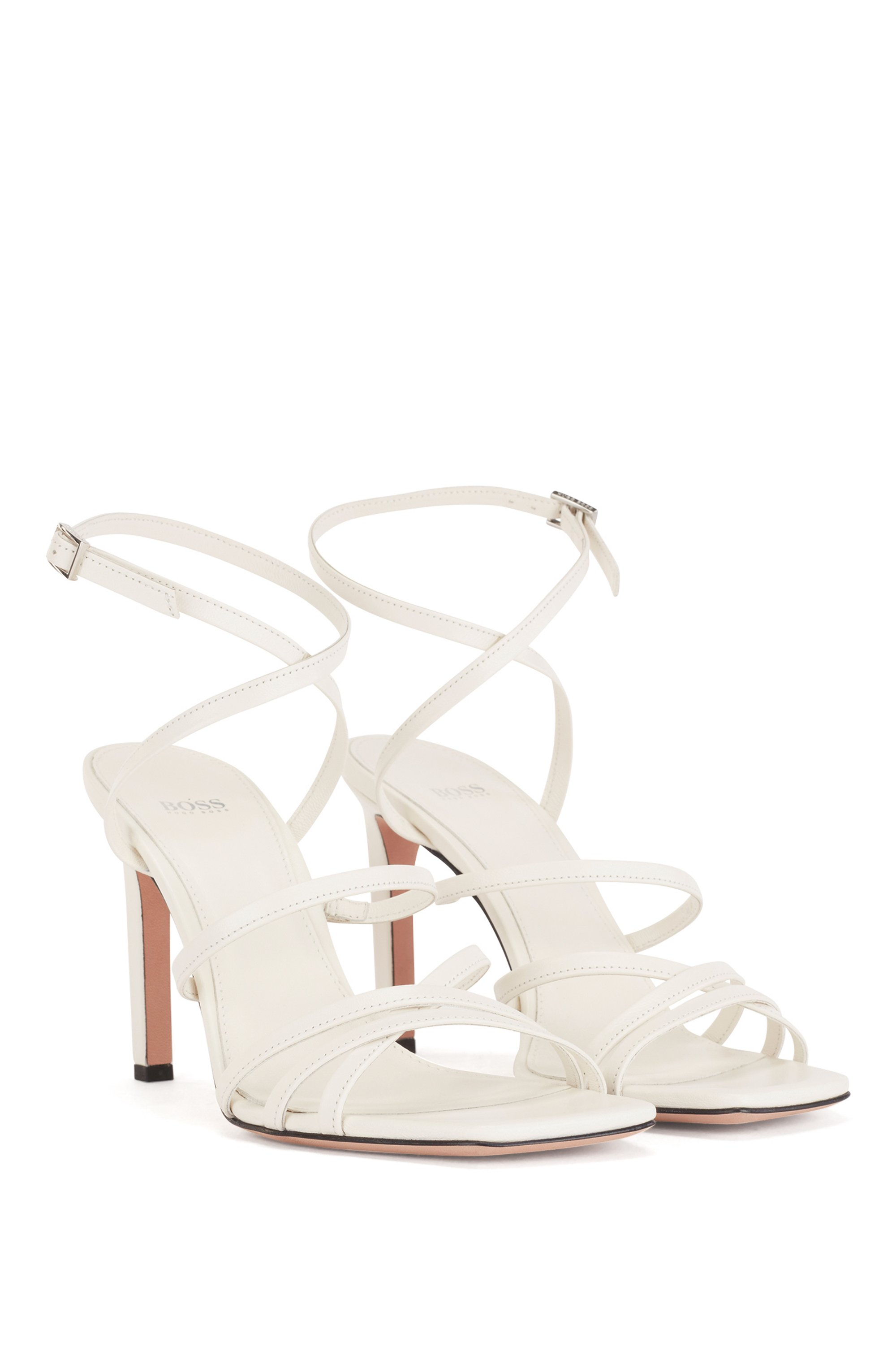 Heeled strappy sandals in Italian leather with squared toe