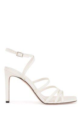 Sandales à talon en cuir italien avec brides et bout carré, Blanc