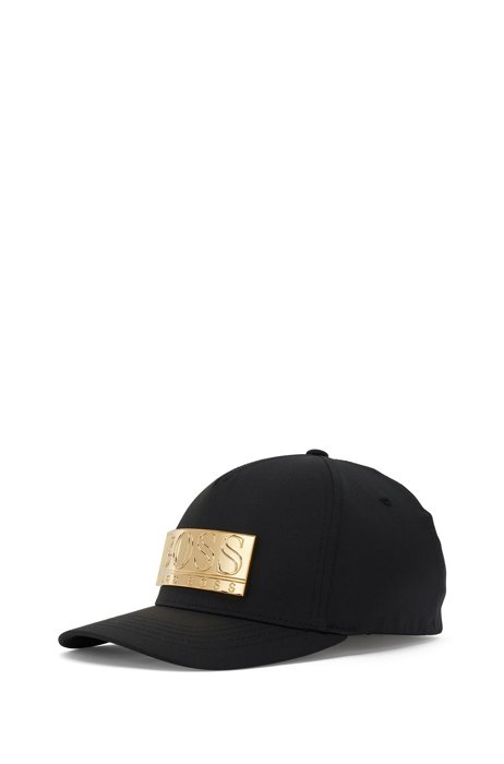 Lightweight cap with metallic branding, Black