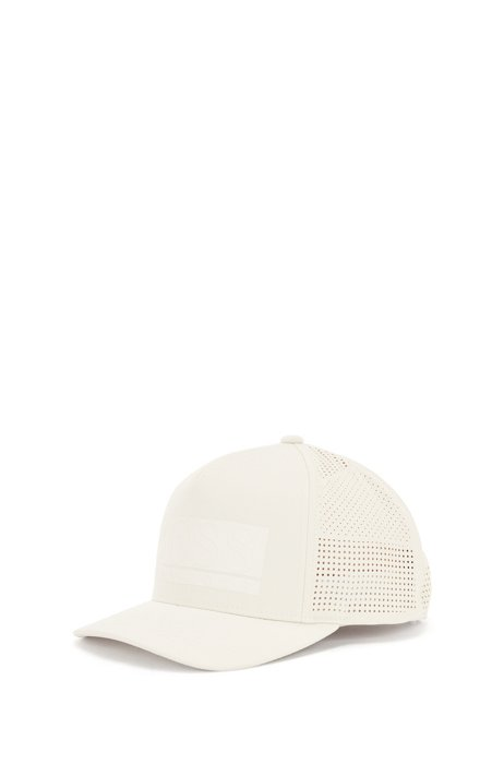 Twill logo cap with laser-cut perforations, White