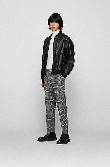 羔羊皮常规版型飞行员夹克,  001_Black