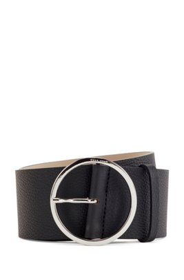 Round-buckle belt in Italian leather, Black