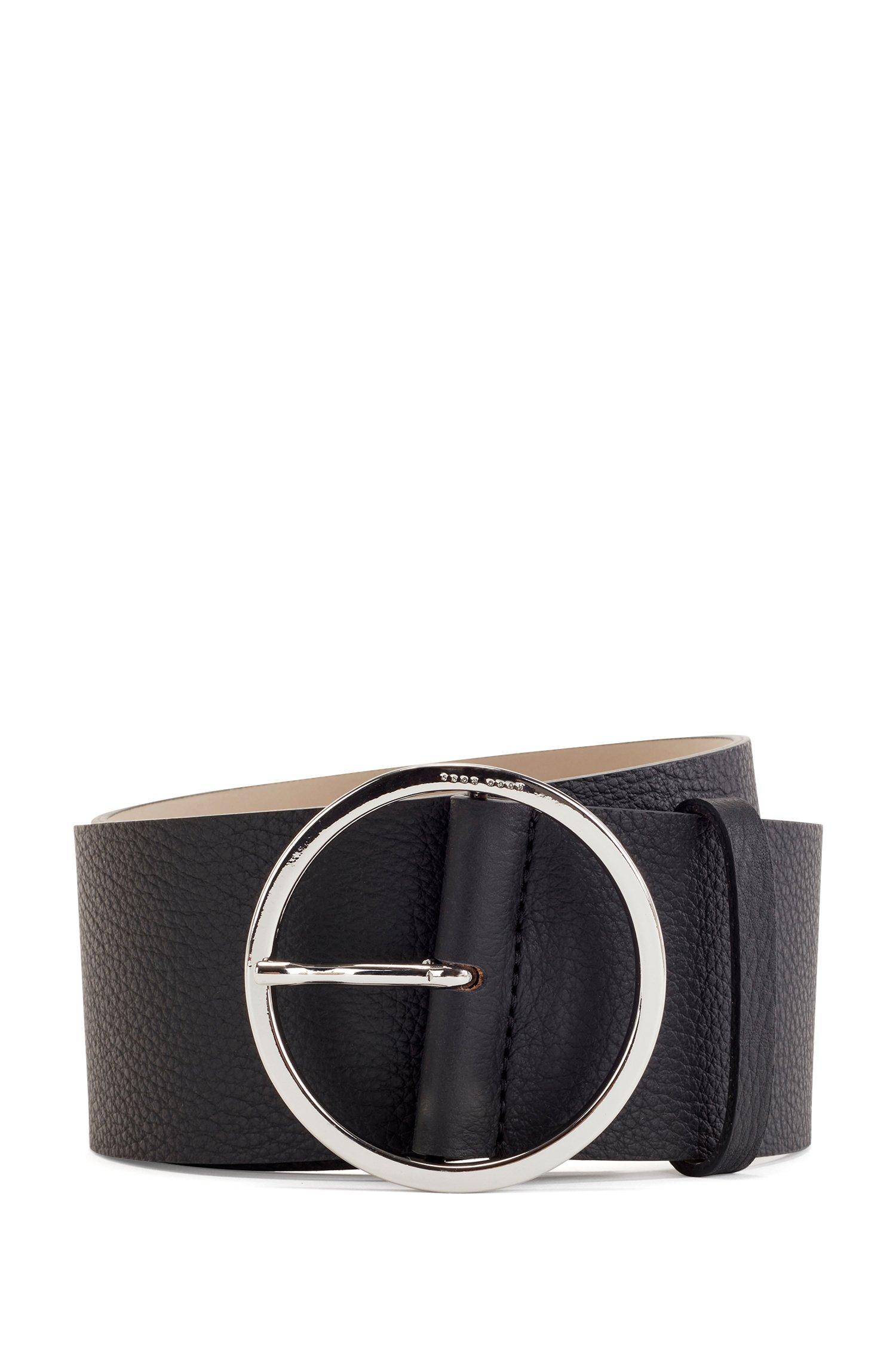 Round-buckle belt in Italian leather, Black