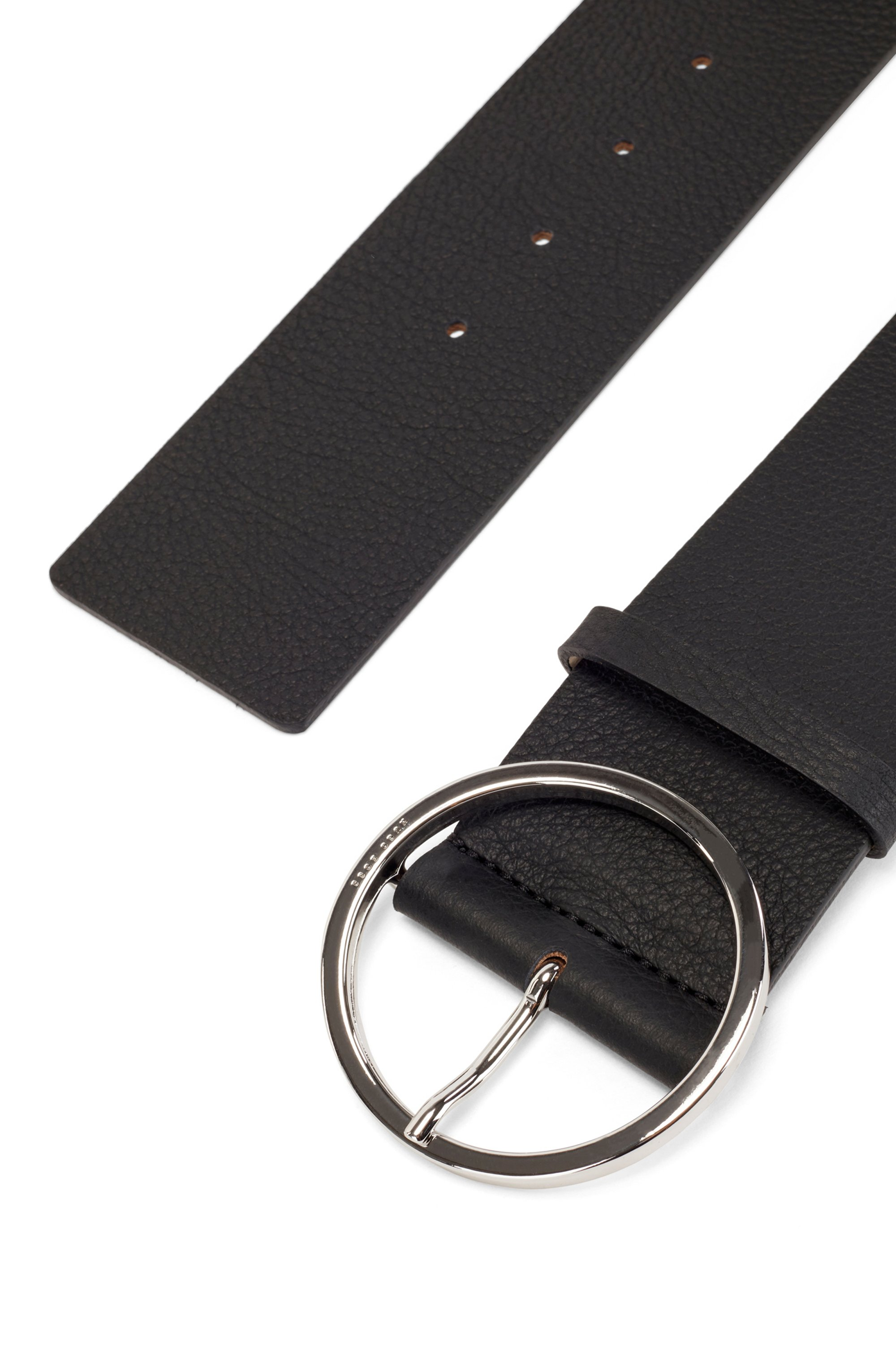 Round-buckle belt in Italian leather