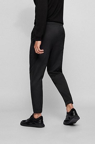 人造革滚边高科技斜纹布锥形长裤,  001_Black