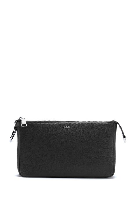 Grainy leather mini bag with polished chain strap, Black