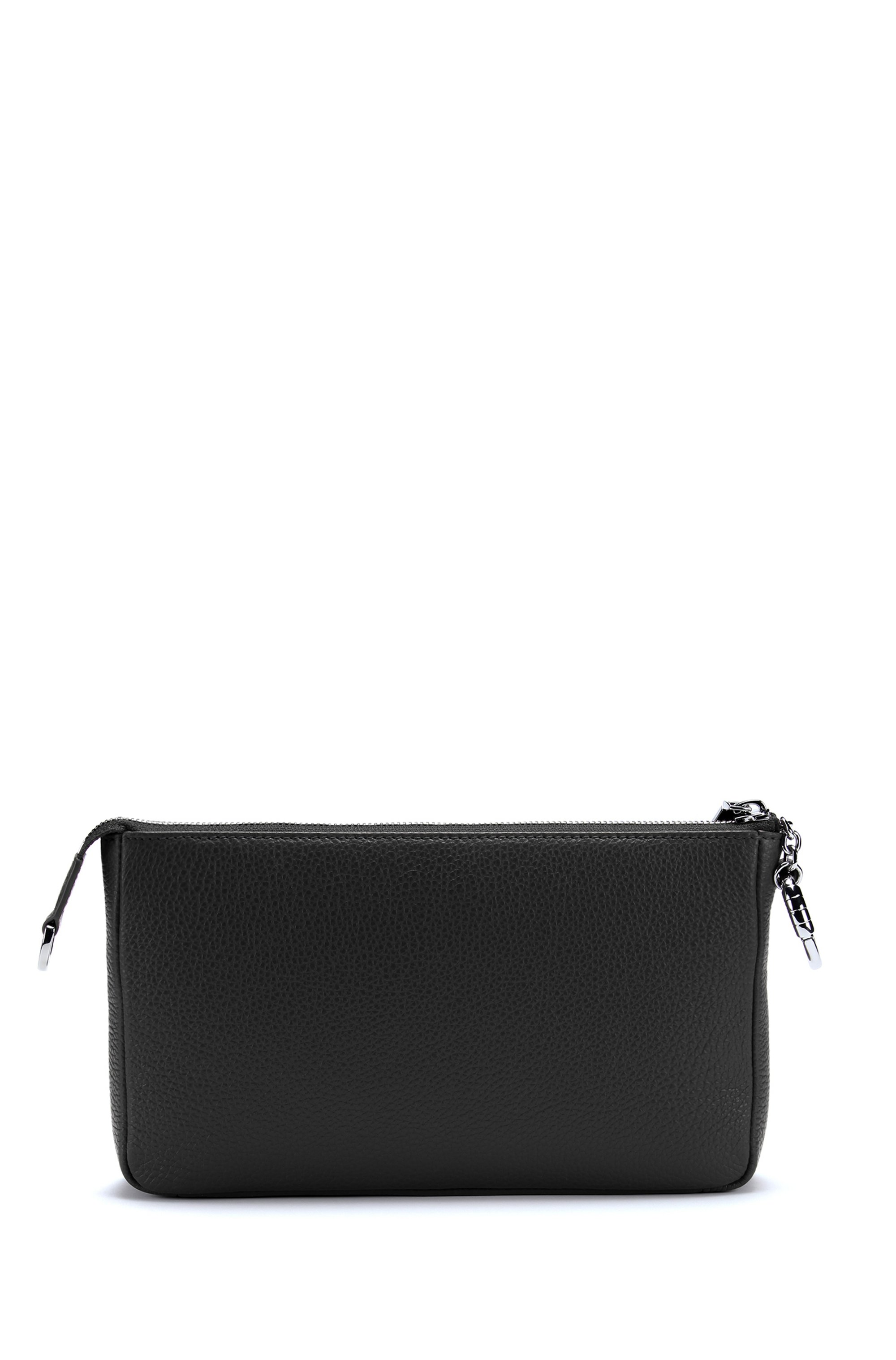 Grainy leather mini bag with polished chain strap