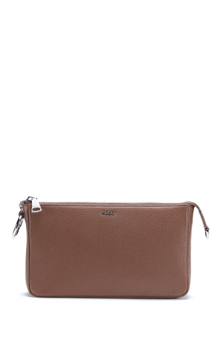 Grainy leather mini bag with polished chain strap, Brown