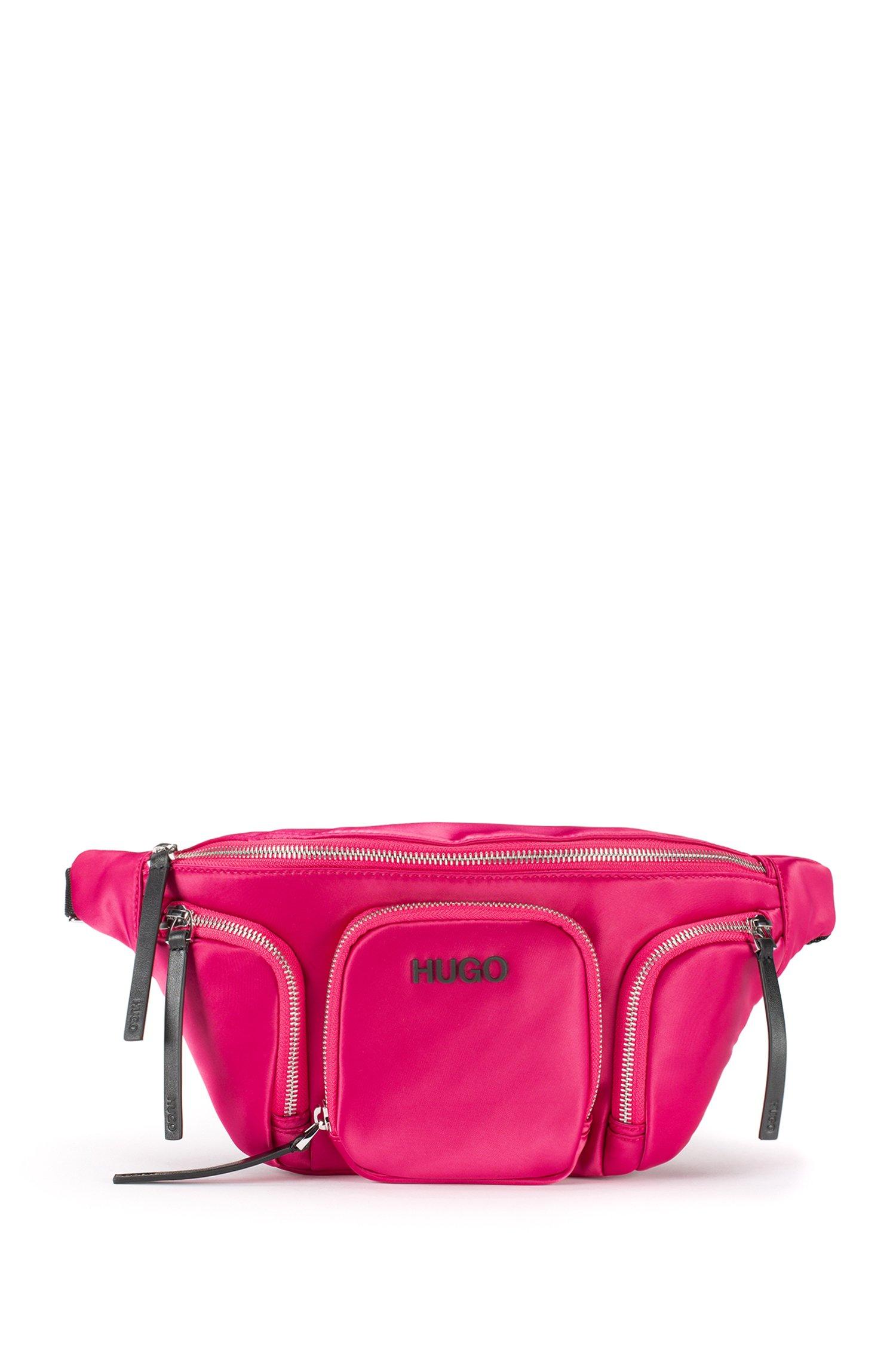 Logo belt bag in lustrous nylon, Pink