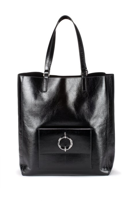 Shopper bag in lustrous leather with signature hardware, Black