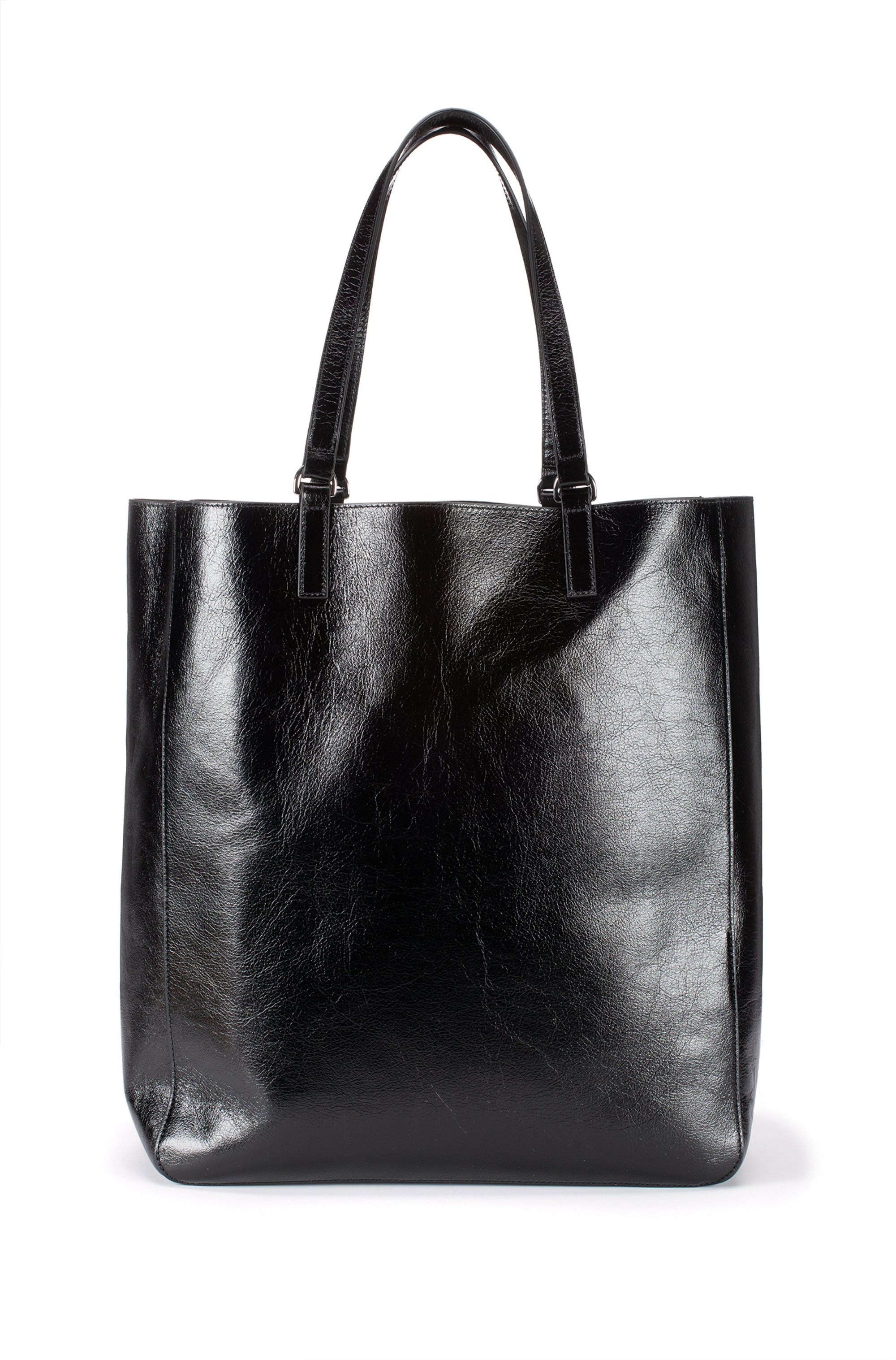 Shopper bag in lustrous leather with signature hardware