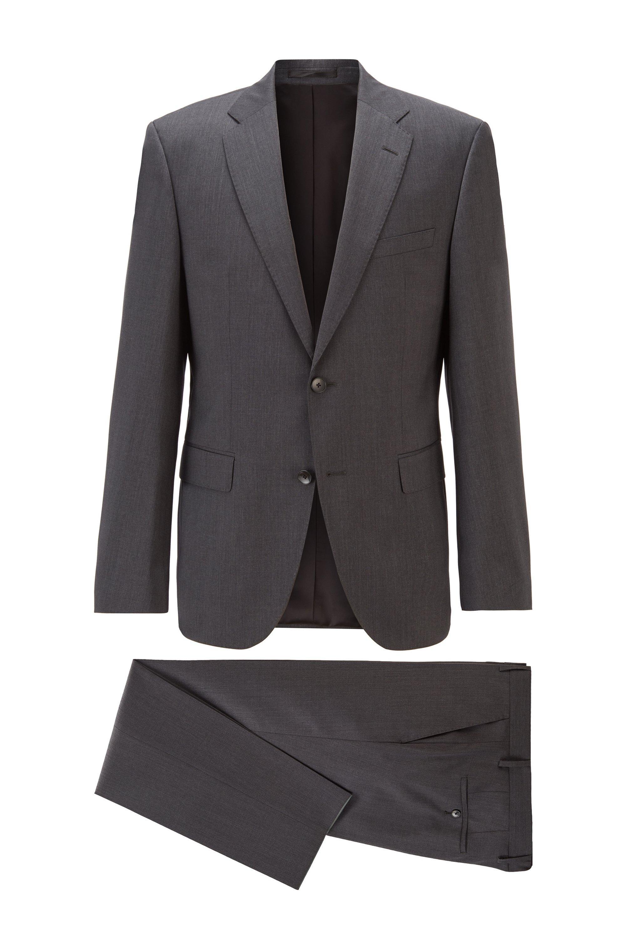 Regular-fit suit in virgin-wool serge, Dark Grey