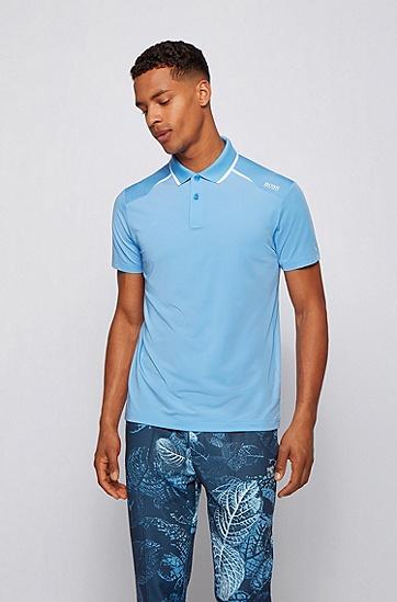 撞色细节弹力平纹针织面料 Polo 衫,  439_亮蓝色