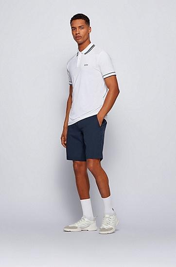 条纹装饰弹力平纹针织 Polo 衫,  白色