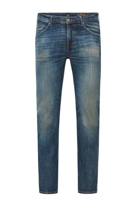 Regular-fit jeans in comfort-stretch cross-hedge denim, Dark Blue