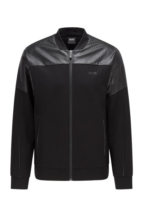 Double-knit bomber jacket with hexagon-pattern faux leather, Black