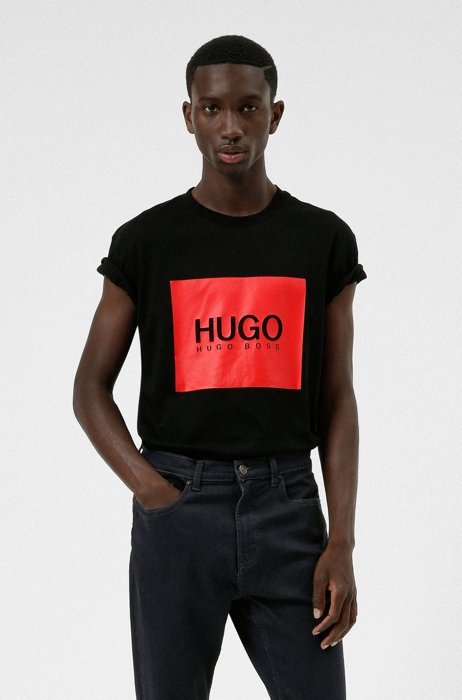 Logo-box-print T-shirt in cotton jersey, Black