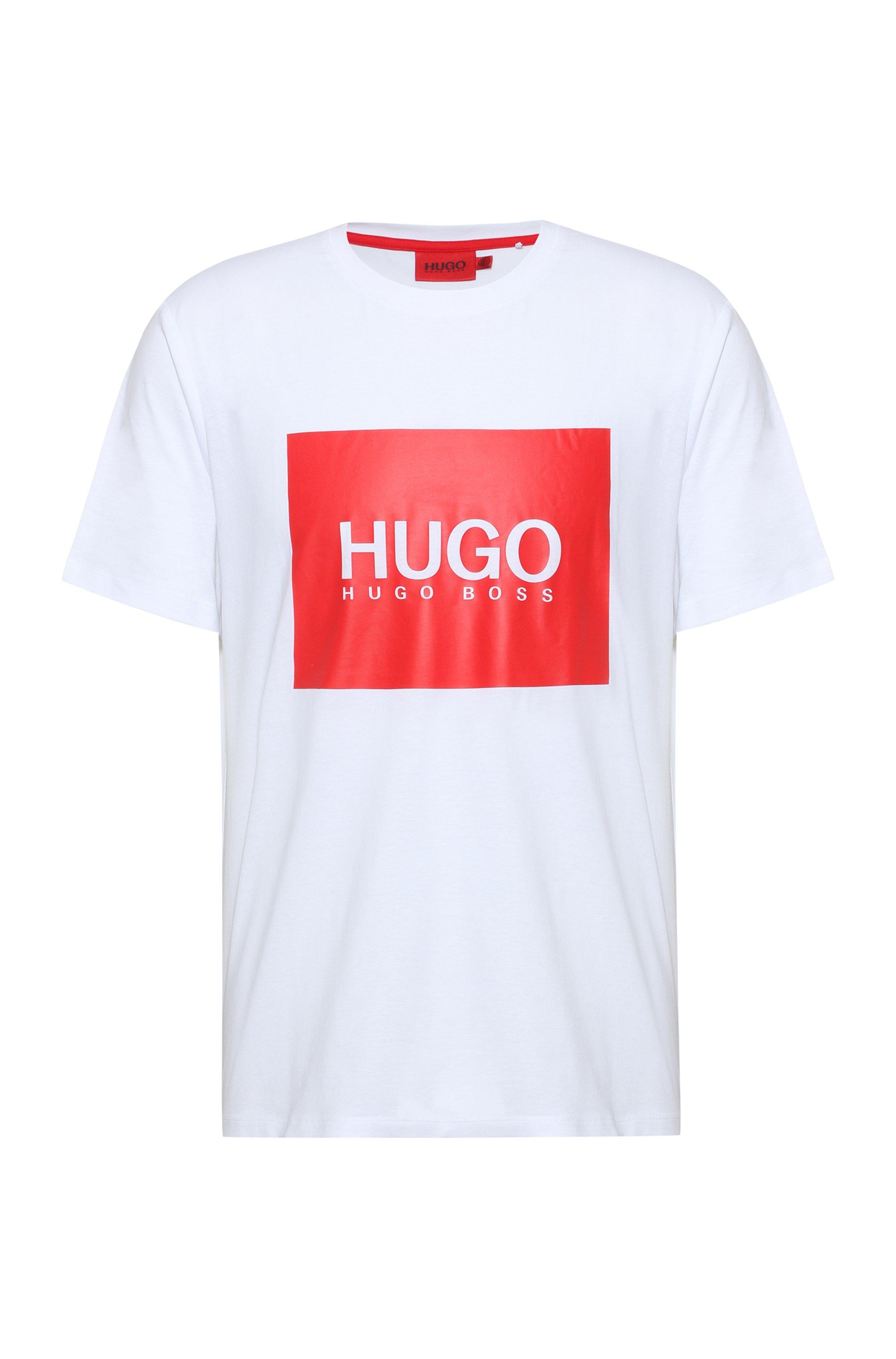 T-shirt en jersey de coton avec grand logo imprimé, Blanc