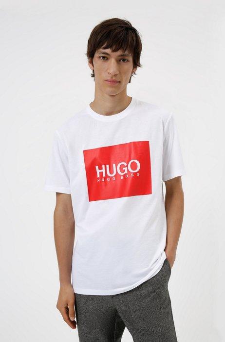 Logo-box-print T-shirt in cotton jersey, White
