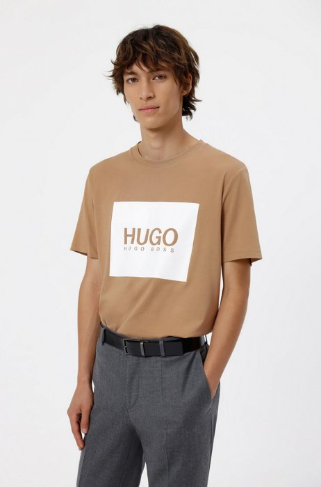 Logo-box-print T-shirt in cotton jersey, Beige