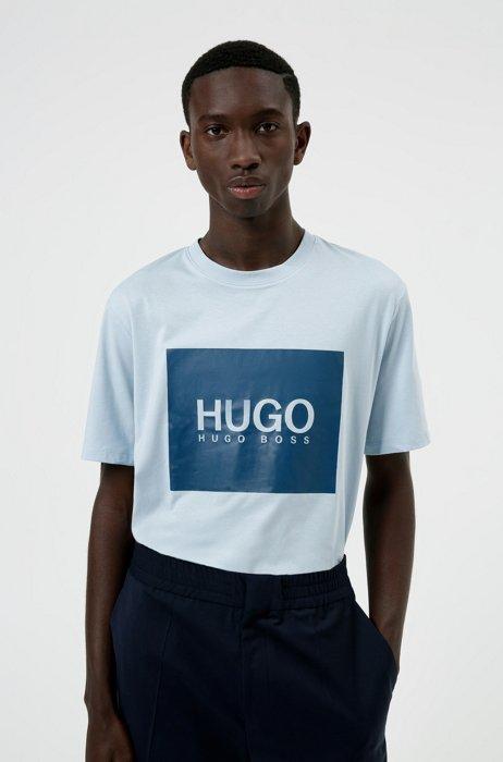 T-shirt en jersey de coton avec grand logo imprimé, bleu clair