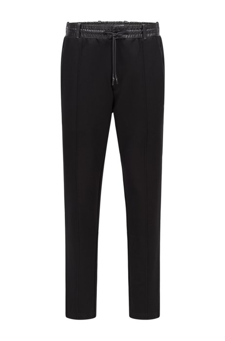 Regular-fit tracksuit bottoms with faux-leather trims, Black