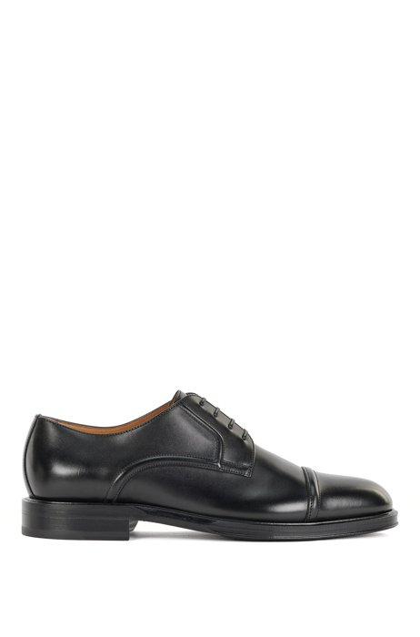 Italian-made Derby shoes with burnished finish, Black
