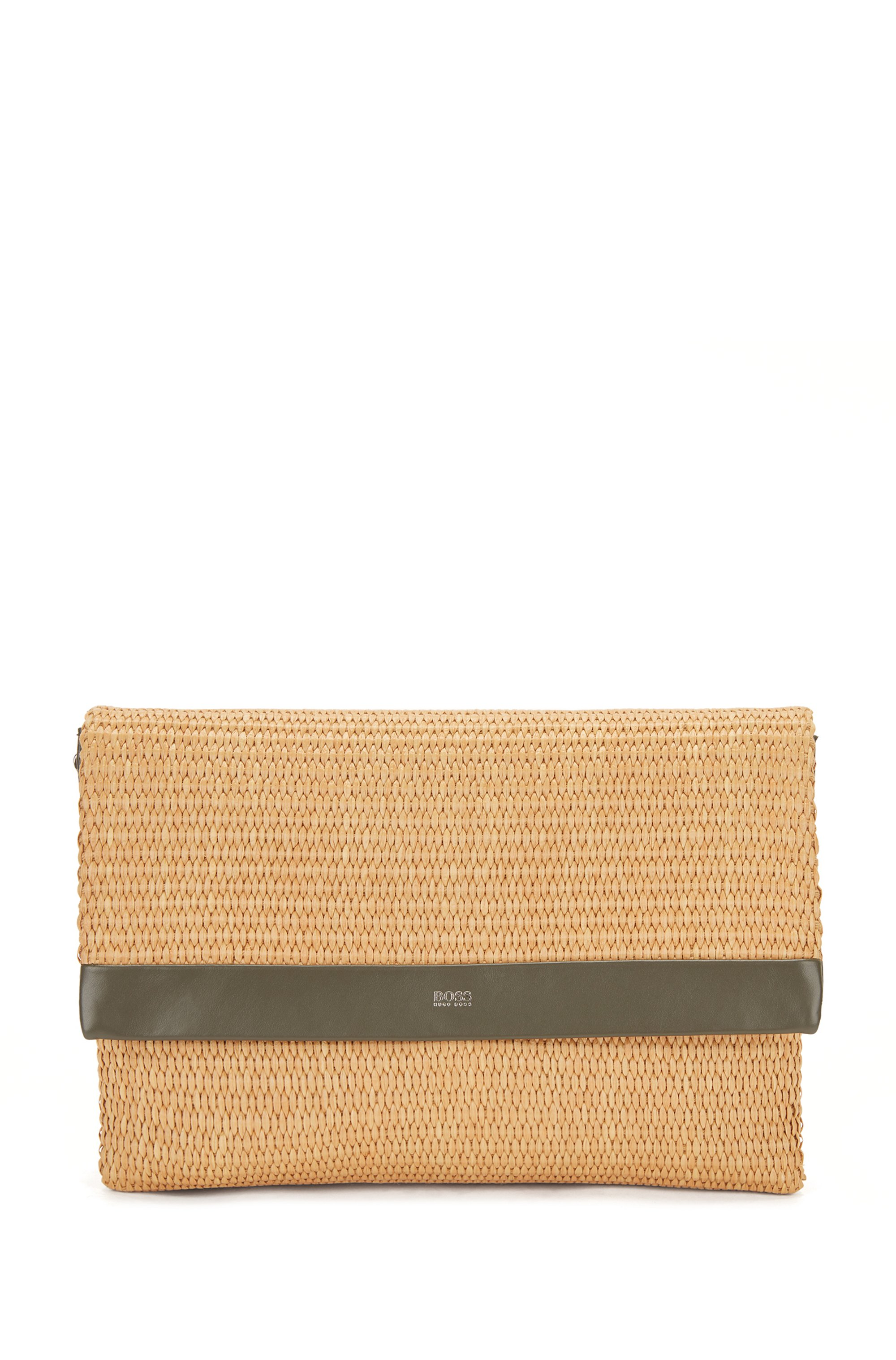Raffia clutch bag with leather trims and chain strap, Beige
