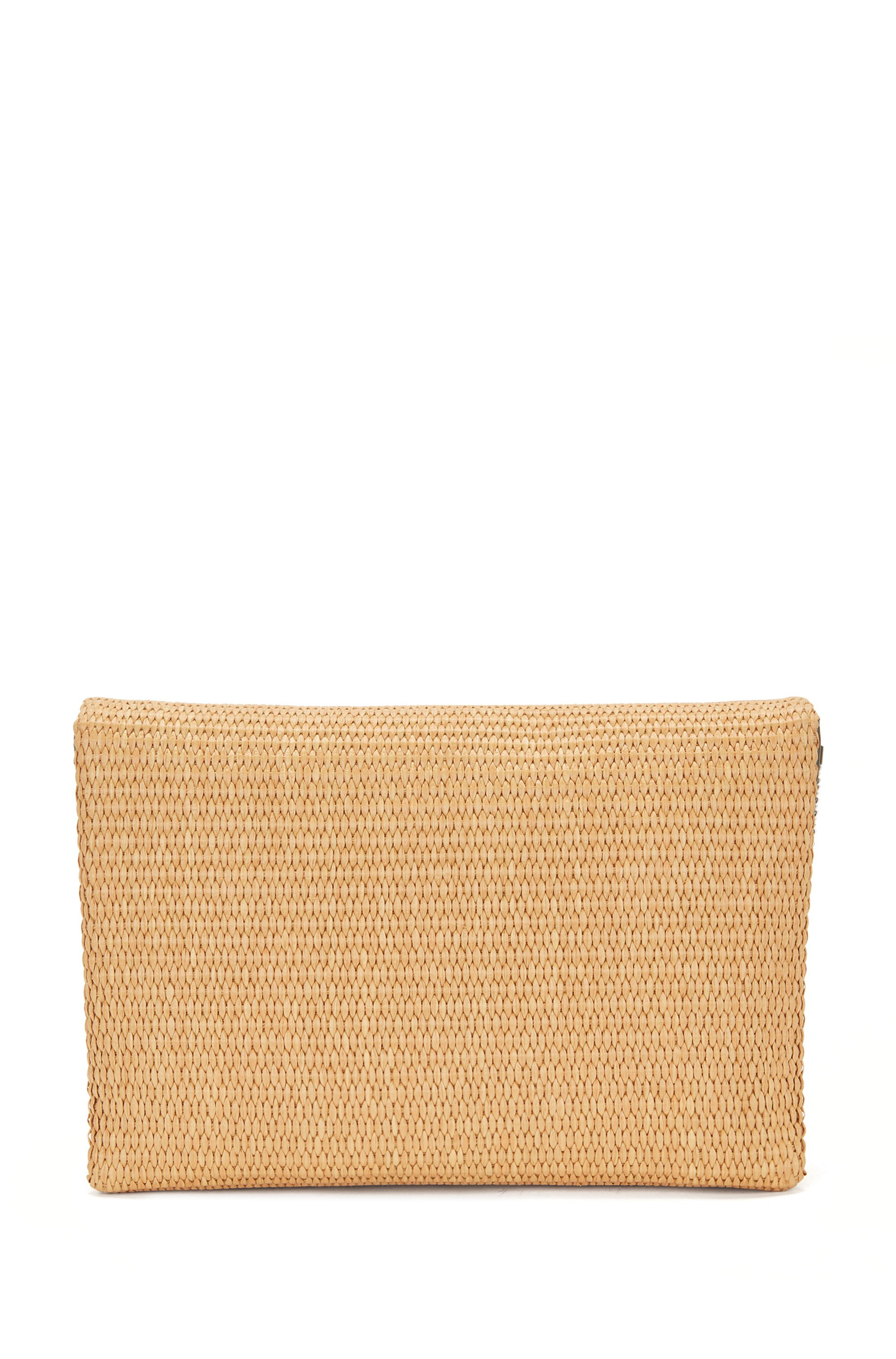 Raffia clutch bag with leather trims and chain strap