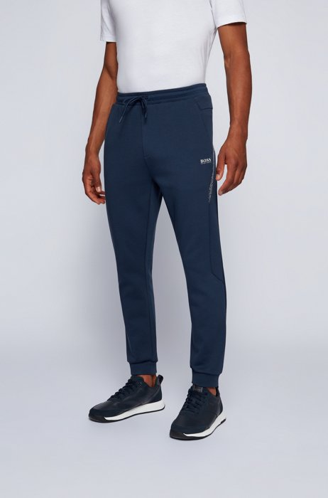 Logo tracksuit bottoms with pixel print and hemmed cuffs, Dark Blue
