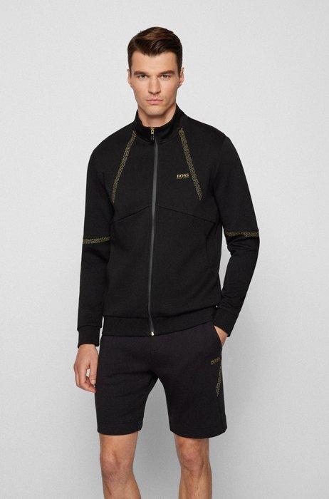 Zip-up sweatshirt with pixel-print detailing, Black