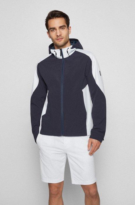 Colour-block zip-up jacket with logo-print hood, Dark Blue