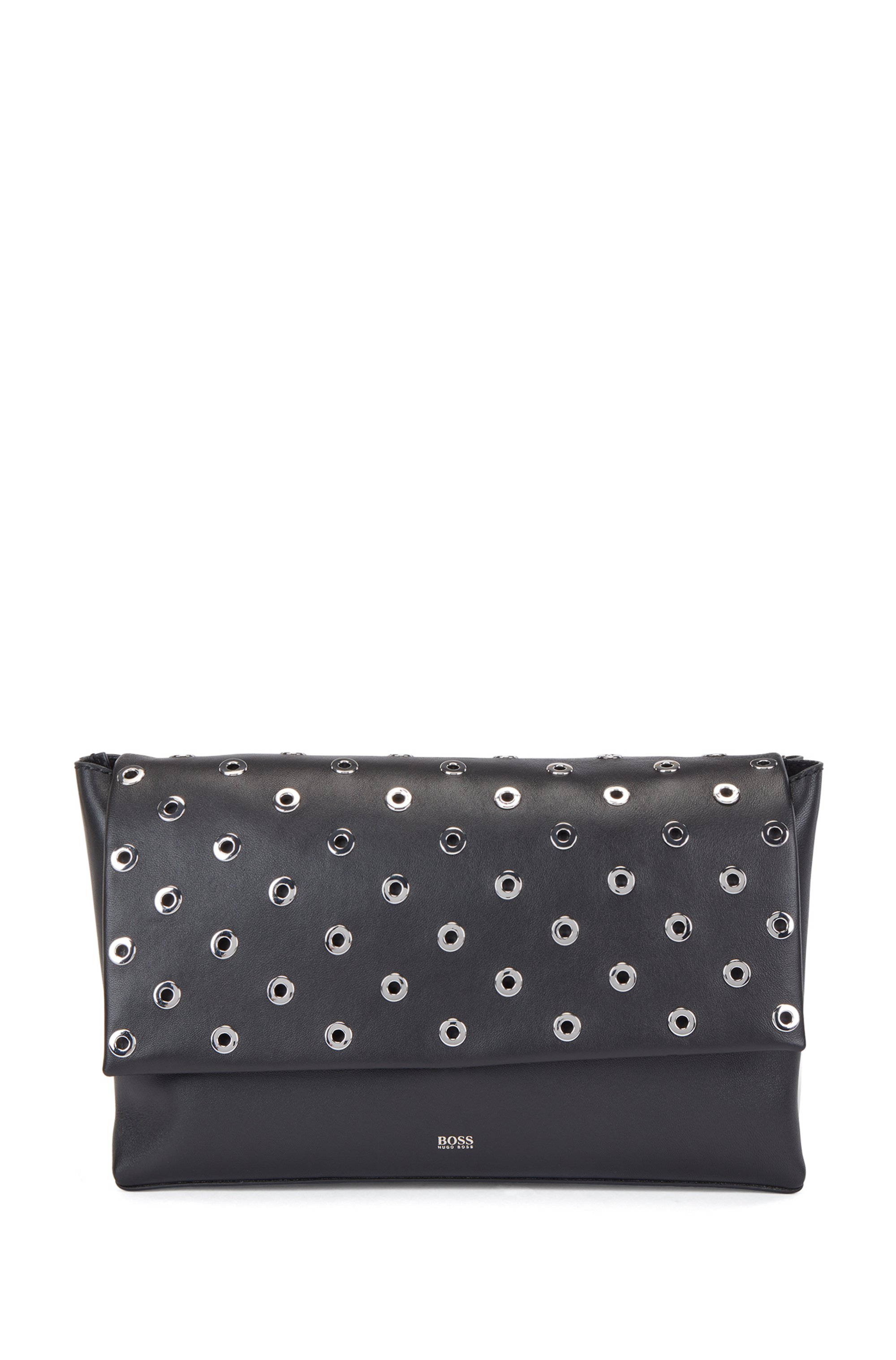 Nappa-leather clutch bag with metallic eyelets, Black