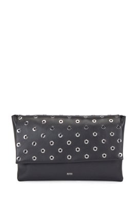 Nappa-leather clutch bag with metallic eyelets, Black