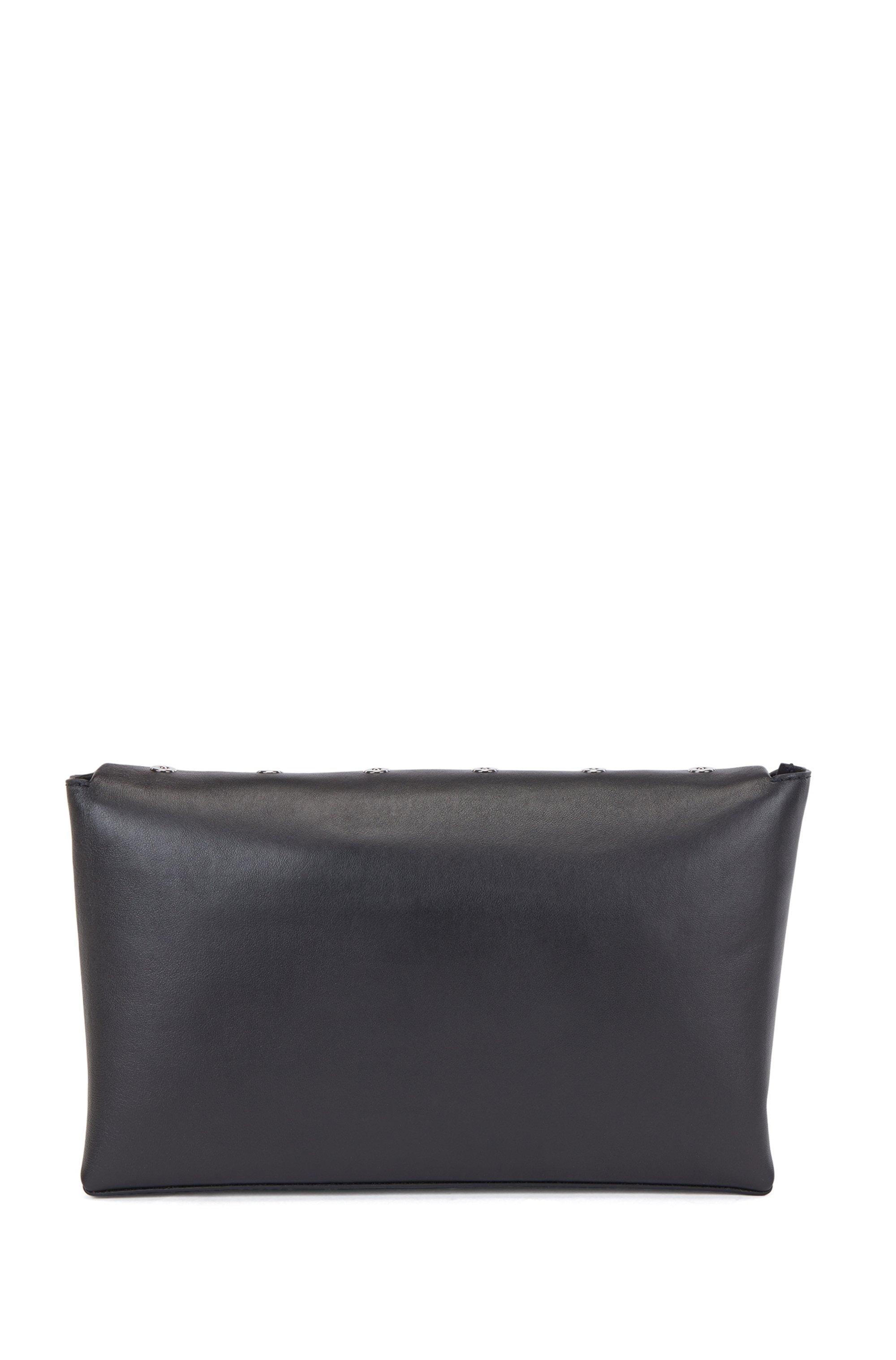 Nappa-leather clutch bag with metallic eyelets