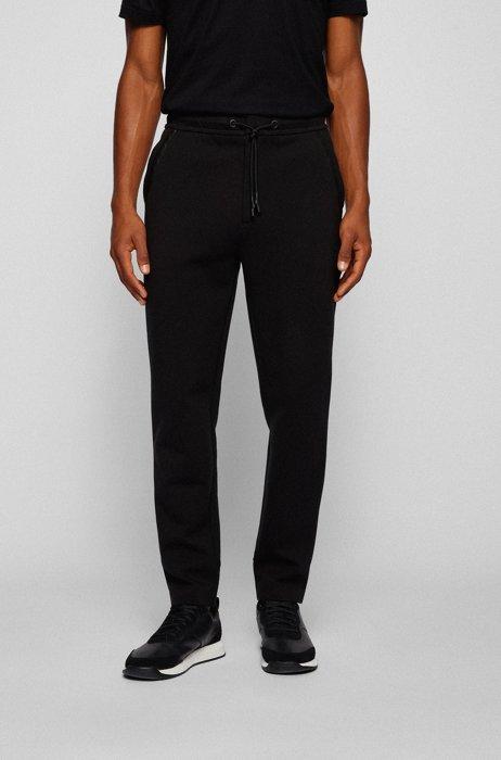 Pantaloni della tuta in misto cotone con logo curvo, Nero