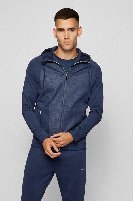 Hooded sweatshirt in stretch fabric with logo panels, Dark Blue