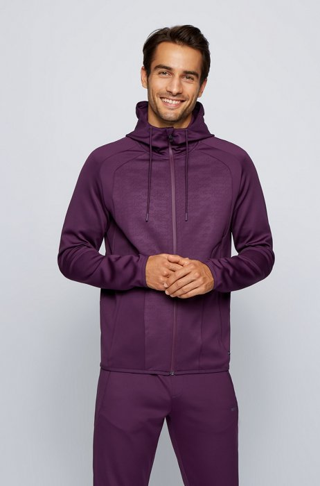 Hooded sweatshirt in stretch fabric with logo panels, Purple