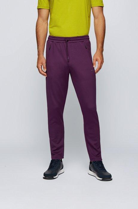 Regular-fit tracksuit bottoms with debossed logo panels, Purple