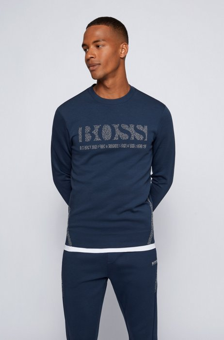 Slim-fit crew-neck sweatshirt with pixellated logo, Dark Blue