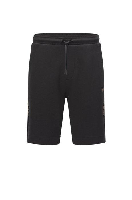 Regular-fit logo shorts with pixel print, Black