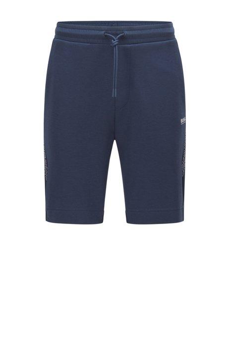 Regular-fit logo shorts with pixel print, Dark Blue