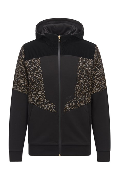 Hooded sweatshirt with logo and pixel print, Black