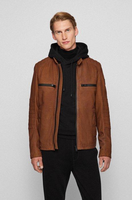 Slim-fit biker jacket in leather with logo patch, Dark Brown
