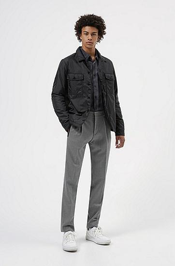 羊毛混纺斜纹布修身长裤,  036_Medium Grey