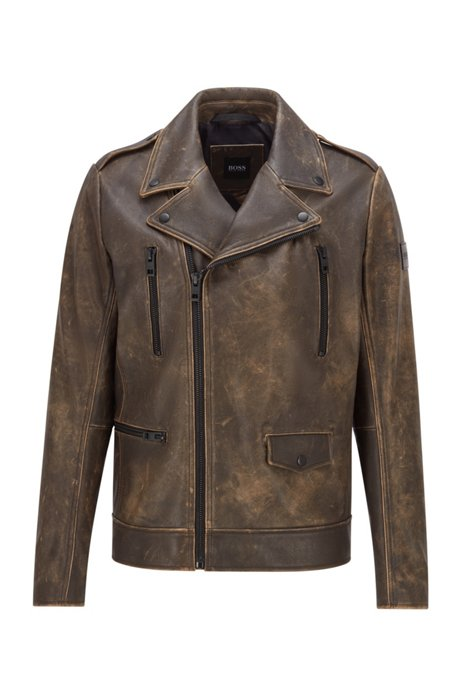 Biker jacket in treated leather with floral-print lining, Dark Brown