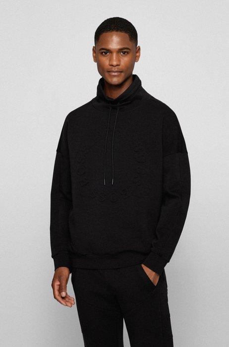 Sweatshirt aus Stretch-Baumwolle mit kreisförmigen Logo-Prägungen, Schwarz