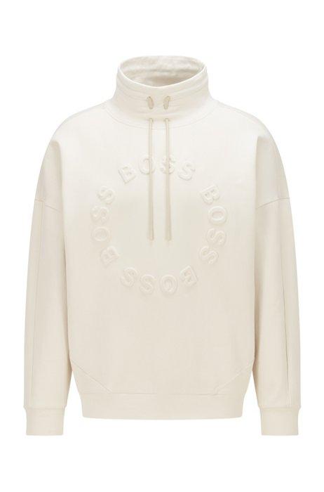 Stretch-cotton sweatshirt with embossed circular logos, White